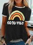 Vintage Short Sleeve Rainbow Letter Printed Plus Size Casual Tops