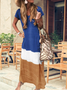 Women Tie-dyed Striped V Neck Linen Short Sleeve Maxi Dress
