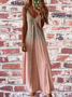 V Neck Sleeveless Cotton Maxi Summer Boho Holiday Linen Dresses