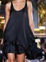 Black Sleeveless Crew Neck Satin Dresses