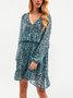 Blue Chiffon Holiday Long Sleeve Leopard Dresses
