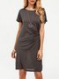 Gray Cotton Short Sleeve Solid Dresses