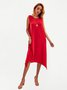 Red Cotton Sleeveless Solid Dresses