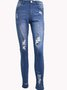 Blue Ripped Casual Denim Pants