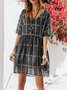 Black Short Sleeve Chiffon Dresses