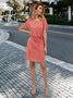 Pink Cotton Solid Short Sleeve Dresses