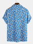Lightblue Casual Printed V Neck Cotton Shirts & Tops