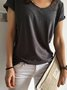 Deep Gray Short Sleeve Sweetheart Cotton Solid Shirts & Tops