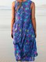 Blue Sleeveless Floral-Print Casual Dresses