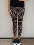 Cotton-blend Casual Leopard Pants