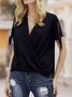 Short Sleeve Solid V Neck Casual Blouse