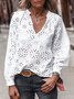 White V Neck Patchwork Casual Shirts & Tops