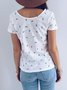 White Casual Cotton Button Tops