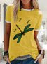 Yellow Cotton Short Sleeve Printed Patchwork Shirts & Tops