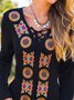 Vintage Boho Geometric Floral Embroidered Plus Size Long Sleeve V Neck Casual Dresses