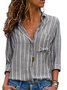 Shirt Collar Long Sleeve Striped Plus Size Printed/Dyed Shirt