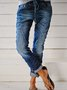 Casual Vintage Drawstring Washed Denim Trousers
