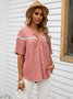Pink V Neck Casual Solid Shift Shirts & Tops