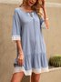 Blue A-Line Crew Neck Cotton-Blend Half Sleeve Dresses