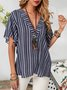 Navy Blue Cotton-Blend Sexy Striped Shirts & Tops