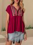 Wine Red Boho Short Sleeve Shirts & Tops