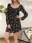 Black Long Sleeve Square Neck Floral Sheath Dresses
