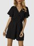 Black Dot Chiffon Short Sleeve V Neck One-Pieces