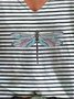 Women Striped Dragonfly Short Sleeve Casual T-Shirts