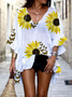 White Floral Batwing Shift Shirts & Tops