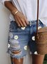 Light Blue Denim Patchwork Printed Casual Pants