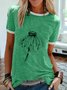 Green Short Sleeve Simple Round Neck Tops