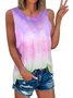 Sleeveless Casual Gradient Shirts & Tops