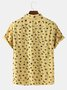 Men 95% Cotton Fun Star Moon Print Casual Lapel Short Sleeve Shirt