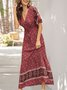 V Neck Red  Holiday Tribal Maxi Dress
