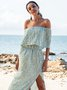 Blue Cold Shoulder Off Shoulder Dresses