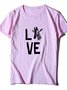 Vintage Short Sleeve Statement Love Giraffe Letter Printed Crew Neck Plus Size Casual Tops