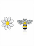Asymmetric Sunflower Earrings with Cute Bee Studs
