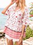 White Paneled Floral Half Sleeve Holiday Shirts & Tops