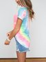 Short Sleeve Tie Dye Printed T-Shirts & Tops