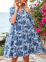 Sky Blue Short Sleeve Boho A-Line V Neck Dresses