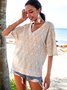 Apricot V Neck Half Sleeve Shirts & Tops