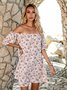 White Off Shoulder Shift Sexy Floral Dresses