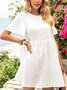 White Floral Holiday Frill Sleeve Crew Neck Dresses