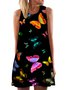 Vintage Sleeveless Boho Butterfly Printed Crew Neck Plus Size Casual Dresses