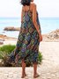 Black Casual Cotton-Blend Swing Crew Neck Maxi Dresses