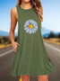 Daisy Print A-Line Casual Sleeveless Cotton Dresses