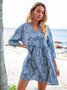 Blue Boho 3/4 Sleeve A-Line Dresses