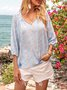 Blue Floral V Neck Paneled Long Sleeve Shirts & Tops