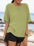 Lightgreen Short Sleeve Crew Neck Polka Dots Shirts & Tops