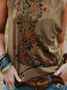 Plus size Printed Casual Vests